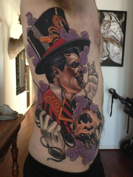 New School Side Circus Tattoo by Emily Rose Murray