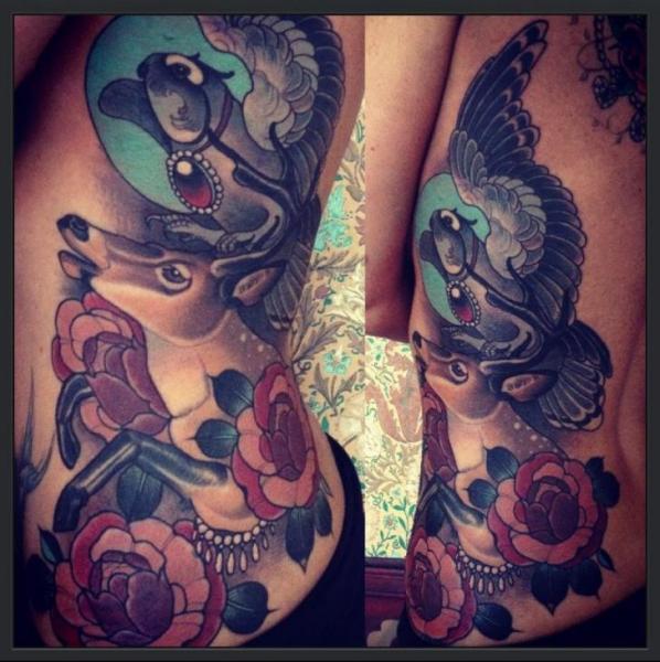 New School Side Owl Deer Tattoo by Emily Rose Murray