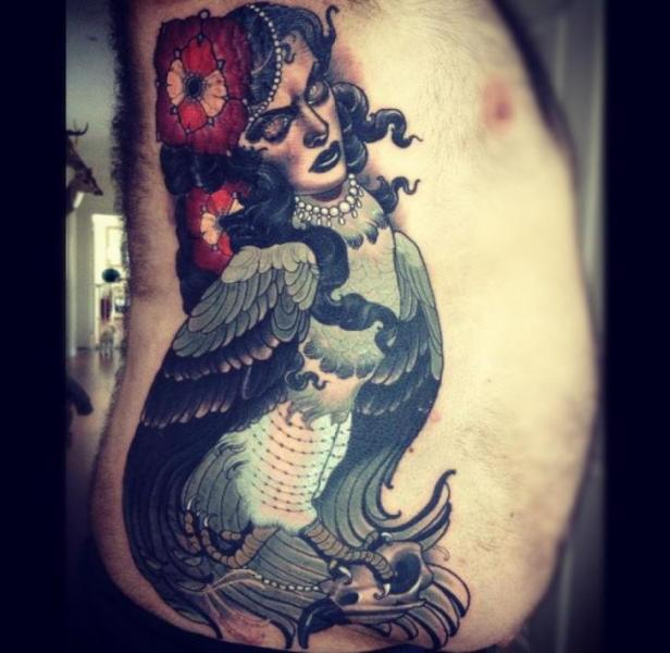 Fantasy New School Side Tattoo by Emily Rose Murray