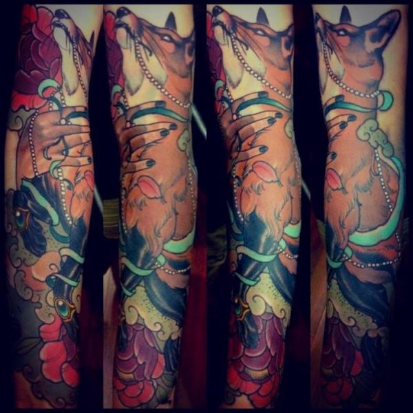New School Fox Sleeve Tattoo by Emily Rose Murray