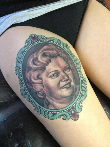 Portrait Realistic Medallion Thigh Tattoo by Emily Rose Murray