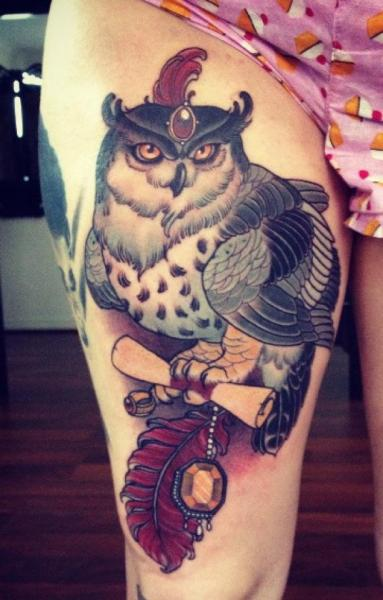 New School Owl Thigh Tattoo by Emily Rose Murray