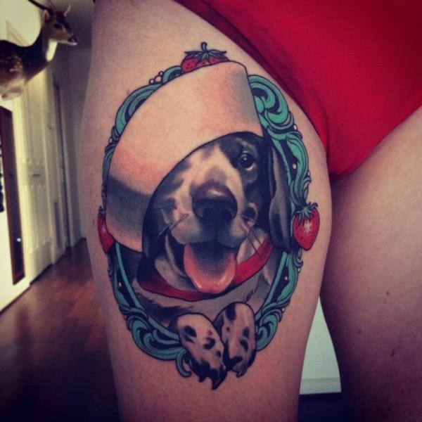 Realistic Dog Thigh Hat Tattoo by Emily Rose Murray