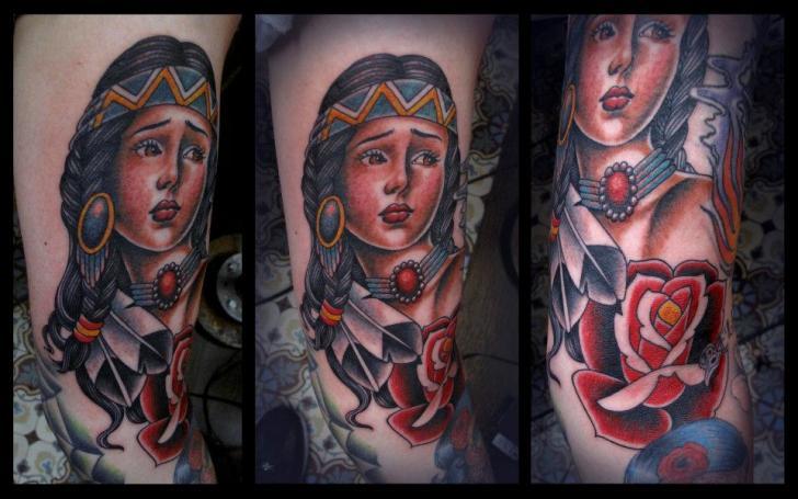 Arm New School Indian Tattoo by Salt Water Tattoo