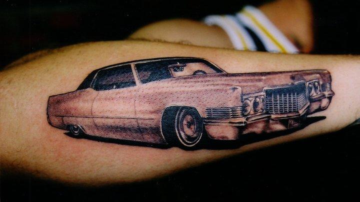 Arm Realistic Car Tattoo by Salt Water Tattoo