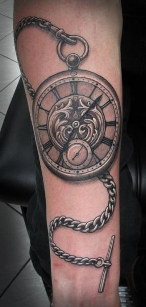 Arm Realistic Clock Tattoo by Salt Water Tattoo
