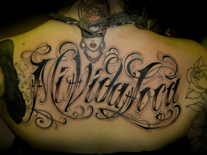 Lettering Back Fonts Tattoo by Salt Water Tattoo