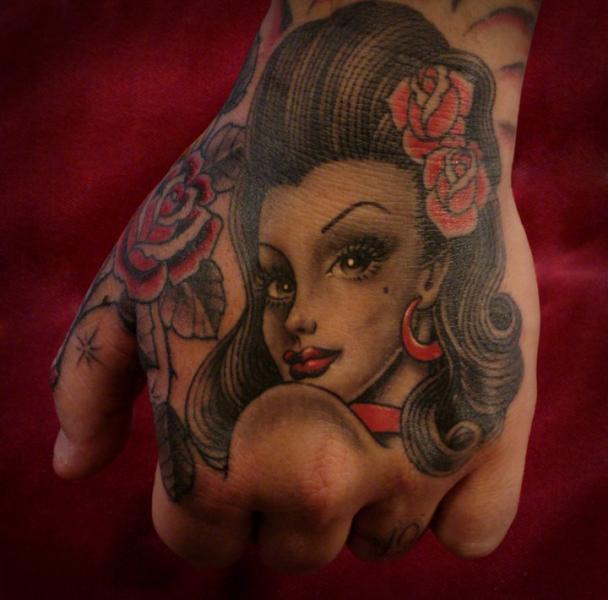 Old School Women Hand Tattoo by Salt Water Tattoo