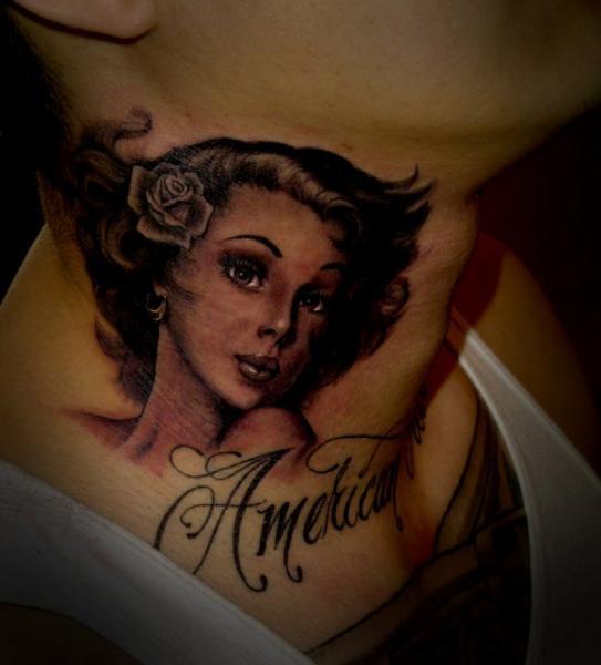 Portrait Realistic Neck Tattoo by Salt Water Tattoo