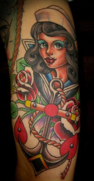 New School Mariner Anchor Tattoo by Salt Water Tattoo