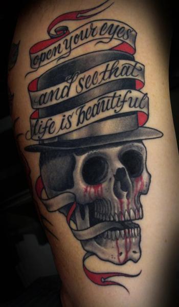 Old School Lettering Skull Hat Tattoo by Salt Water Tattoo