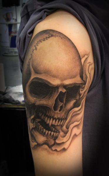 Shoulder Skull Tattoo by Salt Water Tattoo