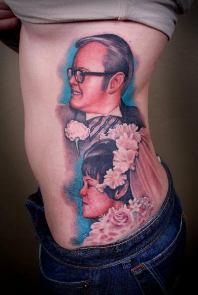 Porträt Realistische Seite Tattoo von Salt Water Tattoo