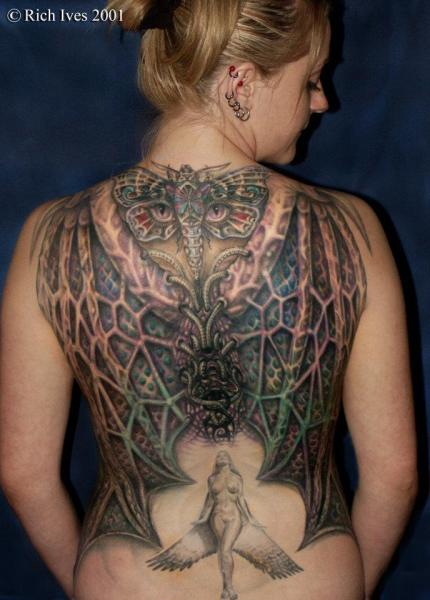 Fantasy Back Wings Moth Tattoo by Steel City Tattoo