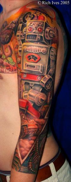 Fantasy Robot Sleeve Tattoo by Steel City Tattoo