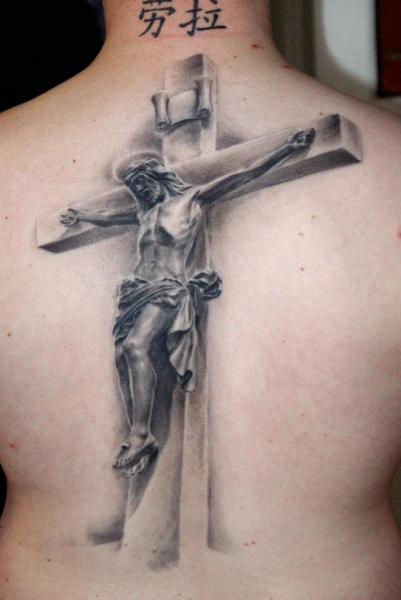 Realistic Back Jesus Crux Tattoo by Dark Raptor Tattoo