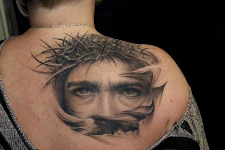 Realistic Back Jesus Tattoo by Dark Raptor Tattoo