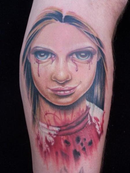 Arm Fantasy Children Blood Tattoo by Tim Mc Evoy