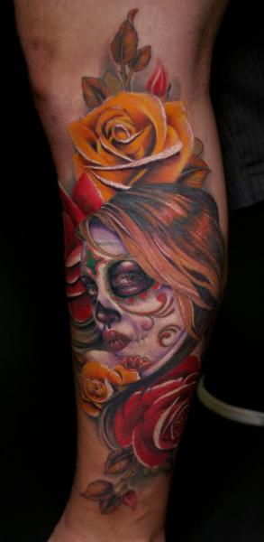 Arm Flower Tattoo by Tim Mc Evoy