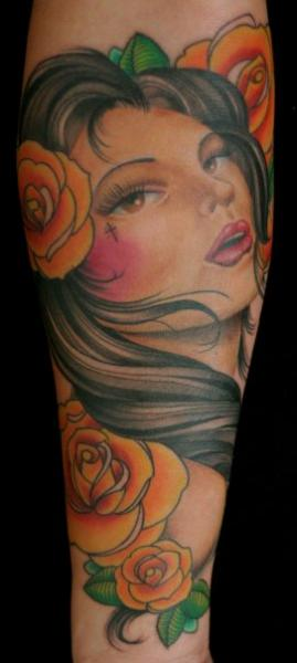 Arm Portrait Flower Women Tattoo by Tim Mc Evoy