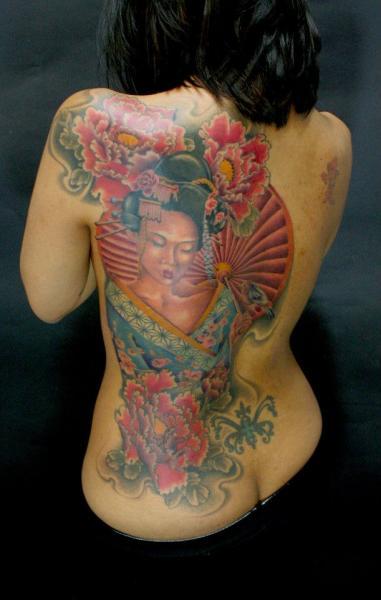 Japanese Back Geisha Tattoo by Tim Mc Evoy