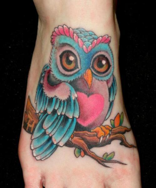 Fantasy Foot Owl Tattoo by Tim Mc Evoy