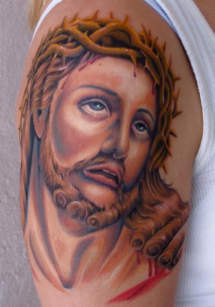 Shoulder Jesus Religious Tattoo by Tim Mc Evoy