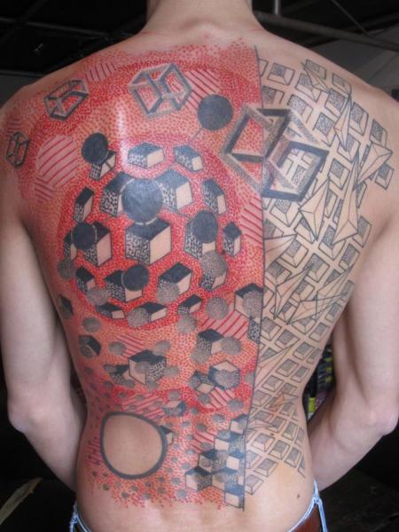 Back Dotwork Geometric Tattoo by Kostek Stekkos
