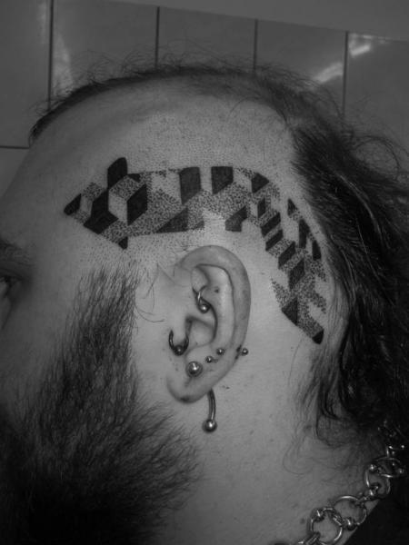 Head Dotwork Tattoo by Kostek Stekkos