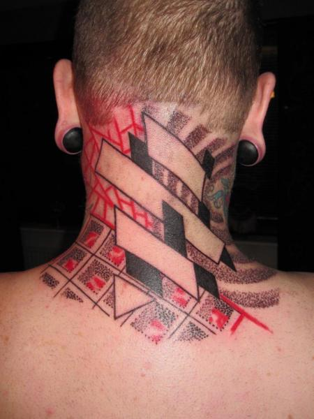 Neck Dotwork Tattoo by Kostek Stekkos