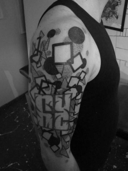 Shoulder Dotwork Geometric Tattoo by Kostek Stekkos