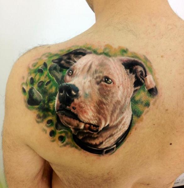 Realistic Dog Back Tattoo by Kronik Tattoo