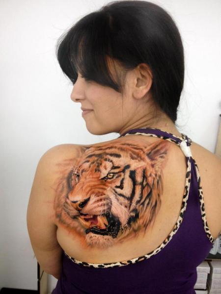 Realistic Back Tiger Tattoo by Kronik Tattoo