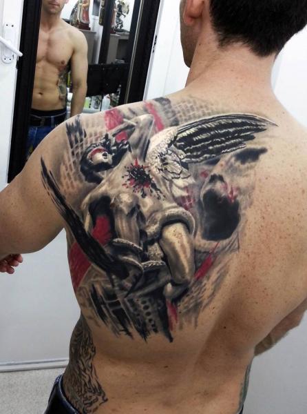 Shoulder Back Tattoo by Kronik Tattoo