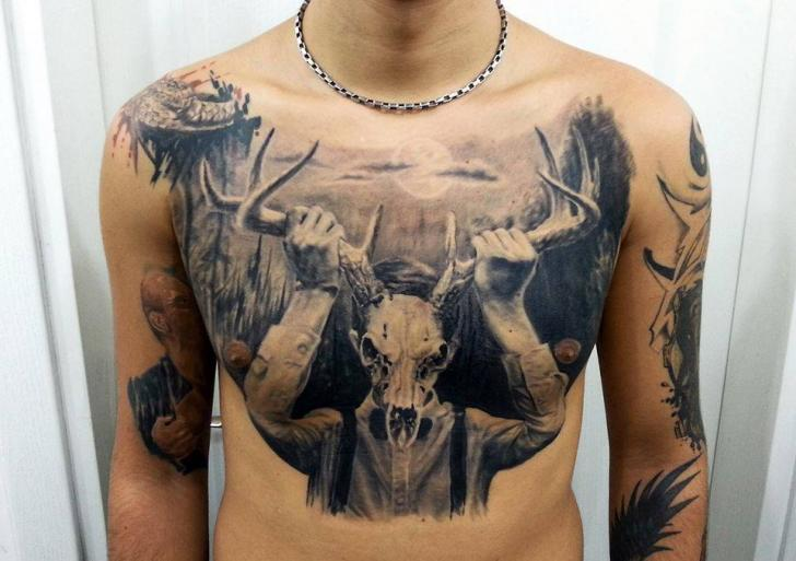 Fantasy Chest Belly Deer Tattoo by Kronik Tattoo