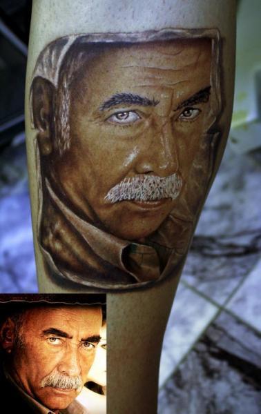 Portrait Realistic Calf Tattoo by Kronik Tattoo