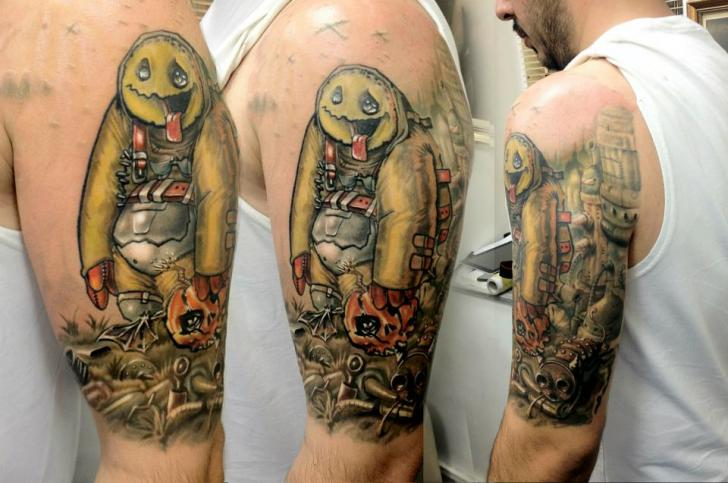 Shoulder Fantasy Character Tattoo by Kronik Tattoo