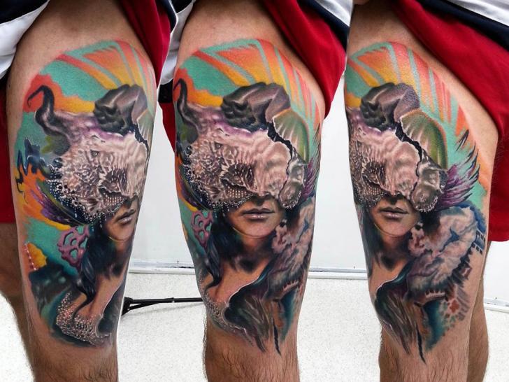Fantasy Women Thigh Tattoo by Kronik Tattoo