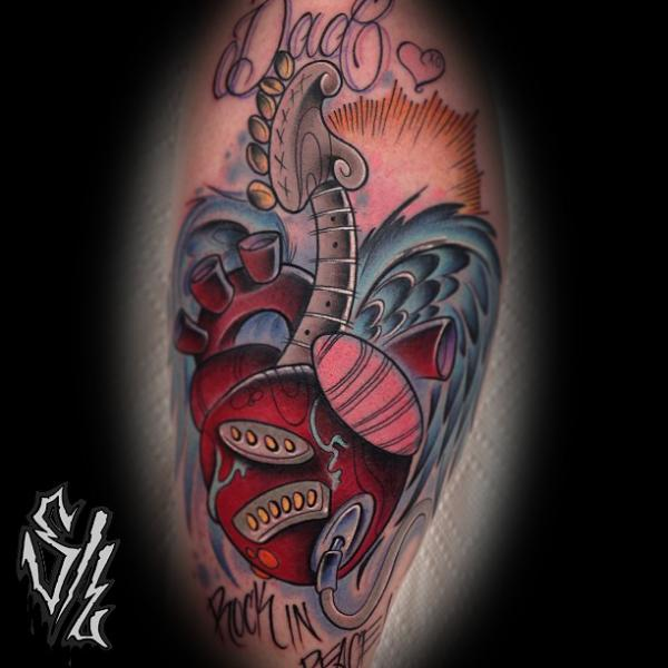 Fantasy Calf Heart Guitar Tattoo by Sketchy Lawyer