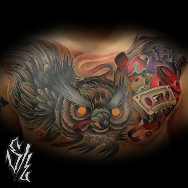 Fantasy Chest Owl Tattoo by Sketchy Lawyer