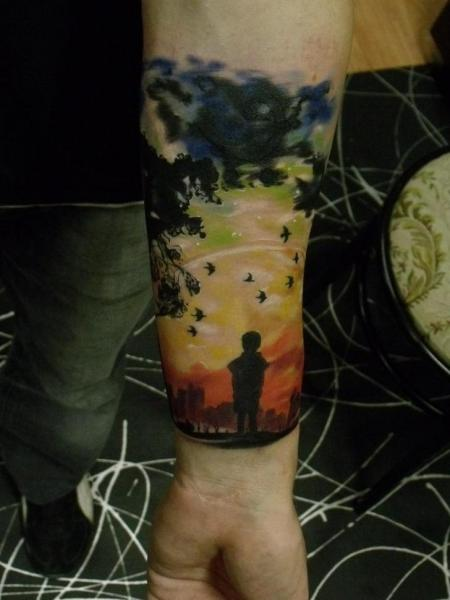 Arm Children Landscape Tattoo by Qrucz Tattoo