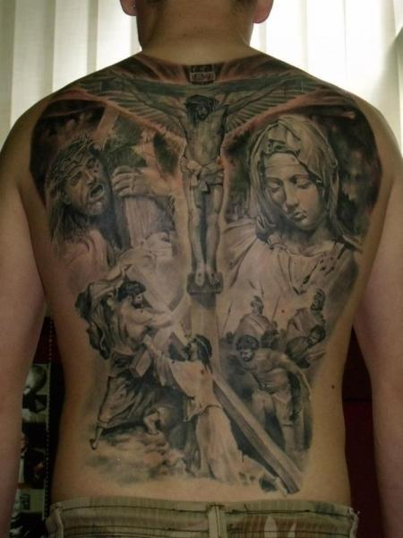 Tatuaż Plecy Jezus Religijny Krzyż Przez Qrucz Tattoo
