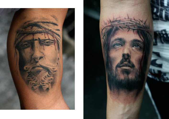 Arm Jesus Religious Tattoo by Darwin Enriquez