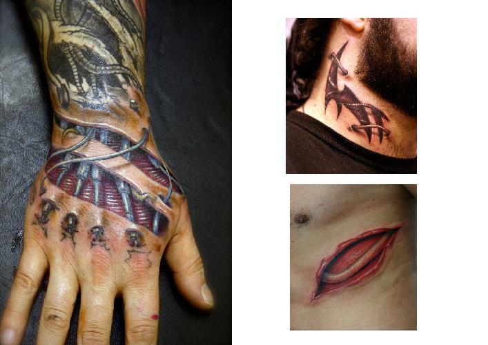 Tatuaje Biomecánica Lado Mano Cuello Cicatriz por Darwin Enriquez