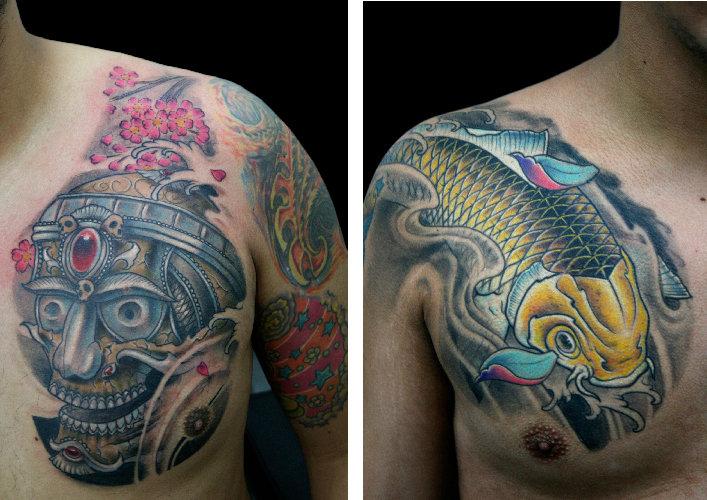 Shoulder Japanese Carp Koi Tattoo by Darwin Enriquez