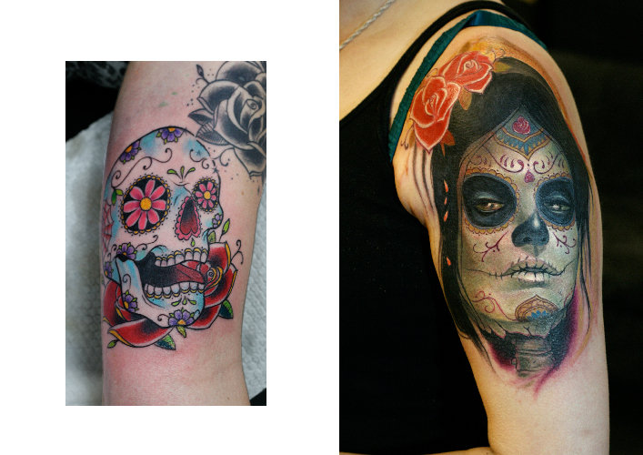 Shoulder Mexican Skull Tattoo by Darwin Enriquez