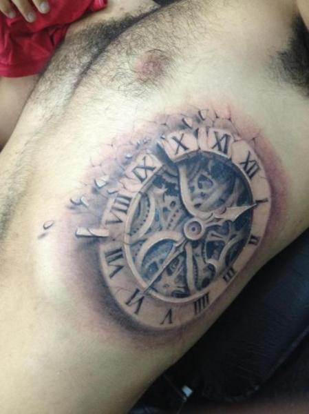 Realistic clock side 3d tattoo by darwin enriquez - Wicked 3d tattoos ...