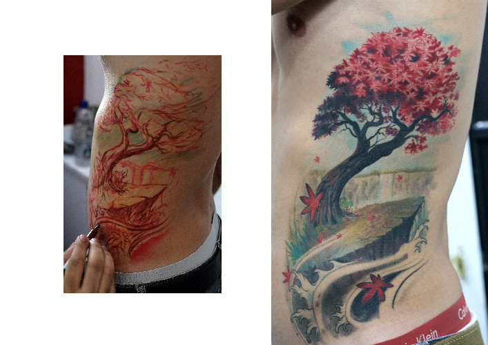 Realistic Side Tree Tattoo by Darwin Enriquez