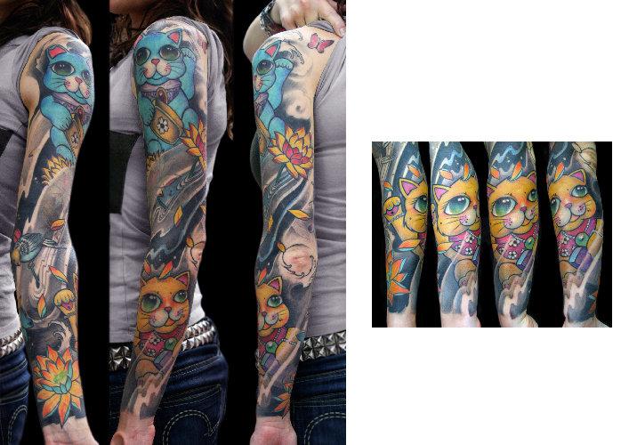 Japanische Maneki Neko Sleeve Tattoo von Darwin Enriquez