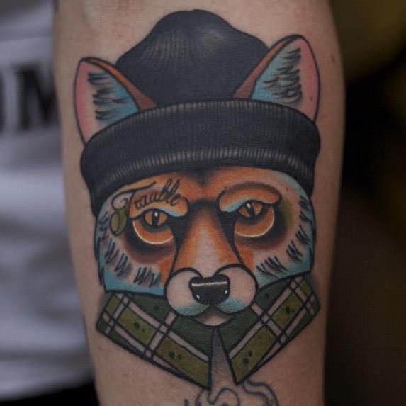 Arm New School Fuchs Tattoo von Mike Stocklings